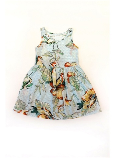 Hays Hays 29975K116 Pamuk Penye Kolsuz Desenli Pudra Kız Çocuk Elbise Yeşil